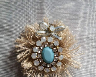 Turquoise and Ivory hair Barrette clip, Wedding /Prom Hair