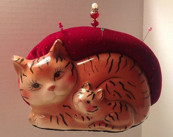 """Pincushion. Cat With Kitten, Family  6"""" by 4.5"""",  16 oz net, #0517"""