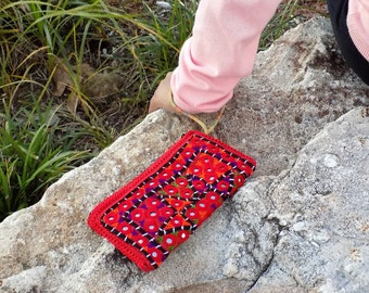 Coin Pouch*Ethnic Bag*Boho Bag*Sindhi Mirrored*Clutch Bag*Embroidered*Red Pouch*Tribal*Bohemian*Handcrafted Pouches//FREE SHIPPING//SP2703//