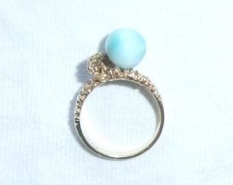 Estate 14k Gold HEAVY Vintage Genuine Larimar Ring sz 6.75 Cocktail Dinner 5.6g Ball Round Blue Gemstone Marked 14 k kt Dominican Republic