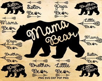 Mama bear svg file, Mama bear dxf, Papa bear, Little bear, Brother bear, Sister bear, Cut files for Silhouette, Svg files for Cricut