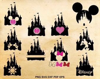 Disney castle svg, Disney castle monogram, Mickey mouse svg fles, Minnie mouse, Disney silhouette, Files for cricut, Files for Silhouette