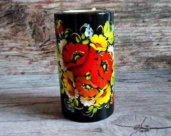 Candle holder wood tea light holder hostess gift red poppies home decor rustic painted flowers art poppy protection home luck centerpiece