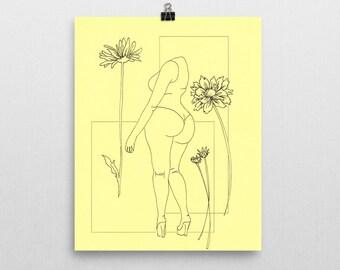 Yellow - Original Ink Illustration Print - 8x10 in.