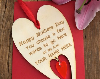 Personalised Mothers Day Card, Mothers Day Gift, Gift for Mom, Happy Mothers Day, Happy Mummies Day, Special Mum Gift, Heart Card, Mum Gift