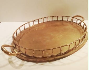 Large Vintage Hollywood Regency Brass Faux Bamboo Tray with Handles