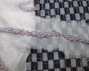 """this is a 2 1/4 yards in 1 1/2"""" width clear rganza and mutil color beads trim for your fashion/wedding and sewing project."""