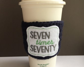 Crochet Coffee Cozy, to go cup cozy, to go cup sleeve, to go coffee sleeve, Coffee Lover gift for her, Navy Green Matthew 18:22