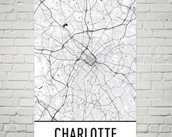 Charlotte NC Map Print, Charlotte North Carolina Art, Charlotte Wall Art, Map of Charlotte NC, Charlotte Poster, Charlotte Gift, Decor, Art