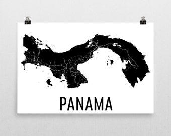 Panama Map, Map of Panama, Panama Art, Panama Canal Decor, Panama Gift, Panama Print, Panama Poster, Panama Wall Art, Panama Canal Art