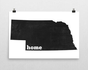 Nebraska Home, Nebraska State, Map of Nebraska, Nebraska Wall Art, Nebraska Gifts, Nebraska Map, Nebraska Print, Art, Sign, Decor, Poster