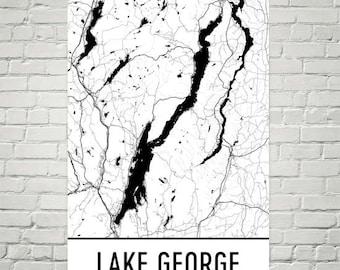Lake George NY, Lake George New York, Finger Lakes Map, Upstate New York Decor, Lake Map, George Lake Art, Art, Cottage Decor, Lake George