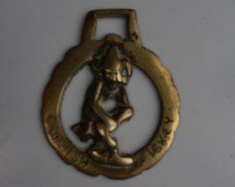 Horsebrass Cornish Horse Brass Piskey.  Cast brass.  Circa 1950's.  Collectible Horse Brass Vintage Retro