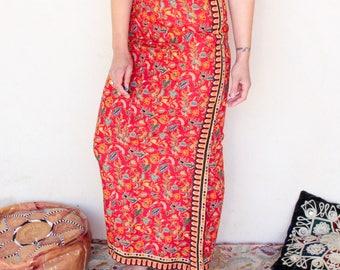 Vintage Indian Print Cotton Maxi Skirt