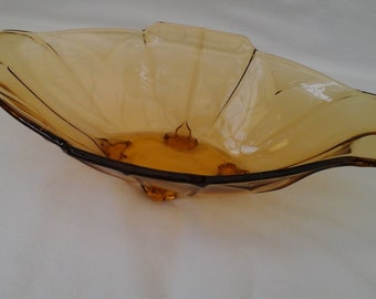 Sowerby vintage Amber Glass oval bowl in Art Deco