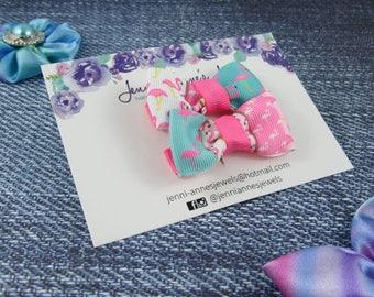 Bow Tie Hair Clip - Set of 2 - Flamingo