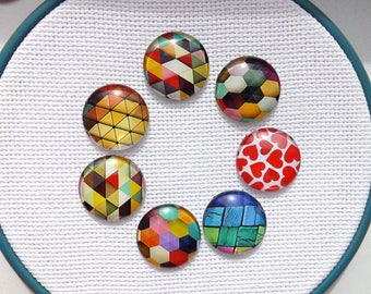 Magnetic needle keeper - Needle minder - Glass cabochon - 1 inch