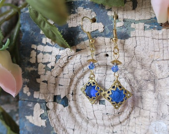 Electric blue and gold filigree earrings