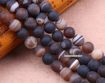 Nature stripe matte finish Agate Beads, Smooth Round, 15.4 Inch Strand ,6mm-12mm