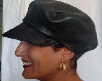 Distressed leather cabbie cap