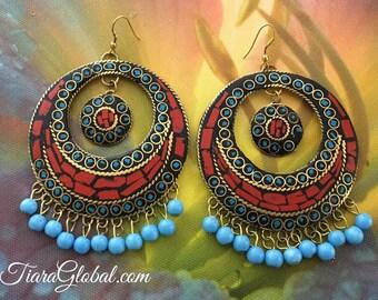 Multi-color Statement Earrings,  Mosaic Earrings, Large Earrings, Chunky Earrings, Bold Earrings, Red and Blue Earrings
