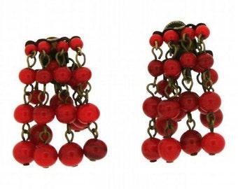 Red Glass Bead 1950s Japanese Vintage Earrings