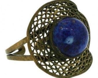 Vintage Blue Ring 1930s Glass Czechoslovakian Basket Weave Design Vintage