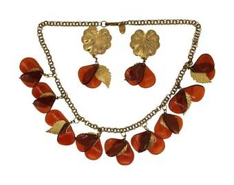 Miriam Haskell 1970s Amber Autumn Leaves Vintage Jewellery Set