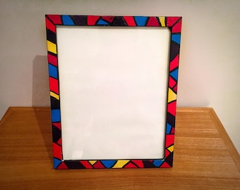 Hand painted Bright Multi colour Colourful Mosaic Aztec Photo Frame