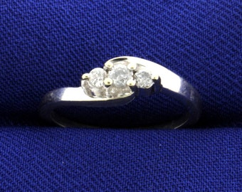 Diamond 3 Stone White Gold Ring