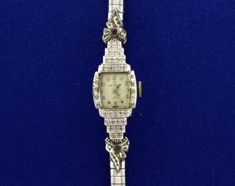 Vintage 14k Gold and Diamond Helbros Women's Wrist Watch
