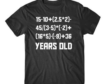 90 Years Old Algebra Equation Funny 90th Birthday Math Shirt