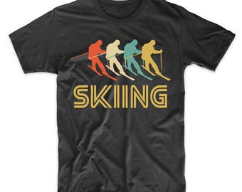 Skier Retro Pop Art Skiing Graphic T-Shirt