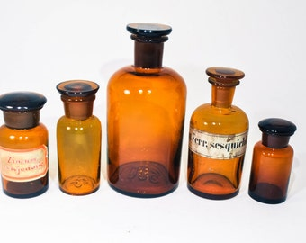 Set of 5 Vintage Medical Bottles, Vintage Bottles, Testing Tubes, Craft Supplies, Apothecary, DIY Glass Bottles, Laboratory Bottles