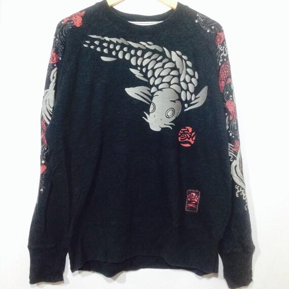 Vintage japan FISH KOI sukajan crew neck pullover front back sweatshirt black colour xlarge size