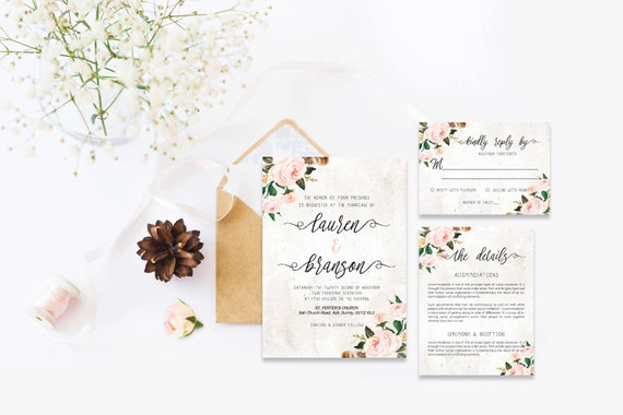 Flower wedding invite,Printable Wedding Invitation Suite,Wedding Invite Set,Wedding Printable,Calligraphy