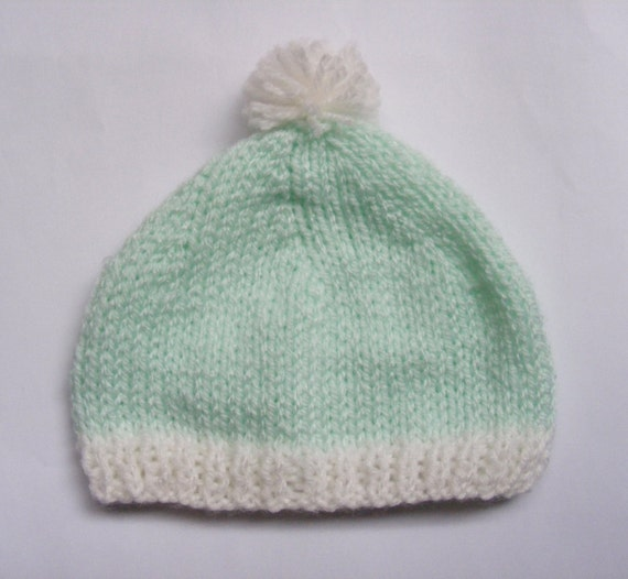Cute Baby Knitted Hat, Handmade, option of mini Pom Pom, Turquoise or Pink