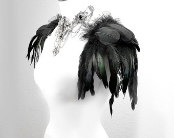 Feather shoulder pads Raven black feathers epaulettes