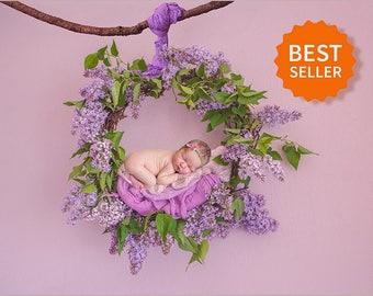Newborn digital backdrop spring wreath of fresh flowers of Lilac. Instant download digital background. Hires jpg file