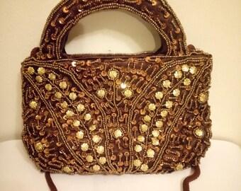Gorgeous Vintage Brown Sequinned Beaded Handbag Evening Bag