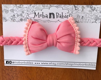 Headband bow, Ribbon with tie padded, headband baby, girl, headband, accessory for the hair, hair accessory, kids, Ribbon braided and loop