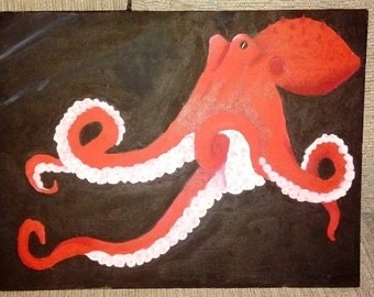 Red Octopus Acrylic Painting