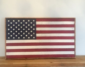 Rustic Handmade American Flag, Red White & Blue, Salvaged Wood, Rustic Home Decor, Farmhouse Decor, 4th of July Art Work, 4ht of July Decor