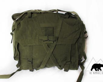 "Canvas Backpack ""The Messenger"" Hiking Pack Messenger Bag Army Military Vintage Antique Travel Bag"
