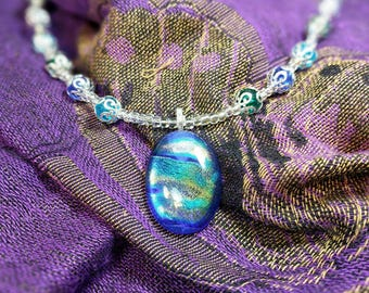 Summer Sky Bead Glass Necklace