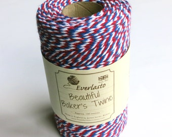 Red, White & Oxford Bakers Twine  (Everlasto) - Multicoloured Twine, Craft twine, Christmas twine, craft twine, gift wrap twine