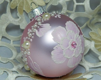 Painted Ornament. Hand Painted Ornament. Floral Ornament. Glass Ornament. Holiday Ornament.