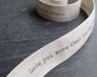 Word Ribbon - Dinky Typewriter font - Personalised Ribbon - Natural Linen - Personal Message