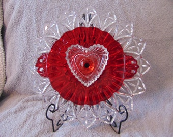 Red Hot Heart- glass plate flower
