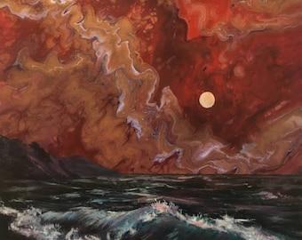 "Sailor's Delight - 12"" x 16"" Original Painting, beach, sea, bronze canvas, marbled art"